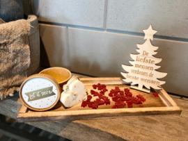 Kerstpakket dienblad Natural / assortiment rode kerstzeepjes (geur) / houten kerstboompje met tekst / Zeepje in doosje met opdruk LET IT SNOW