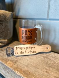 Bierpul Pa's bier Afblijven + flessenopener Mijn papa is de liefste