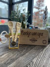 Bamboeset opa jij bent de enige echte masterchef / Water-wijnglas lieve opa / broodplank Plankje van opa