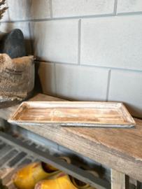 Smal houten dienblad Grey-wash