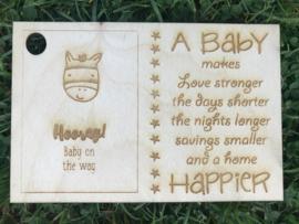 Kaartje van hout (zwanger)