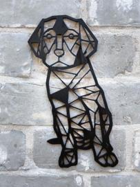 Muurdecoratie hond zittend
