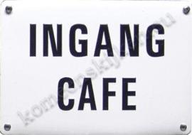 metalen schildje ingang cafe