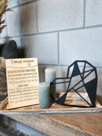 Cadeaupakket tekstbordje Lieve mam / op houten dienblad small / houten geometrisch hart / 2 kaarsjes