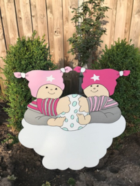 Geboortebord Tweeling Roze