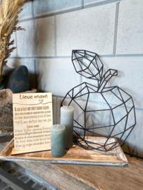 Cadeaupakket tekstbordje Lieve mam / op houten dienblad small / 2 kaarsjes / houten geometrische appel