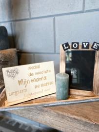Cadeaupakket Mijn mama (speciaal) / op houten dienblad small / Fotolijstje LOVE / kaarsje