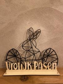 Paasdecoratie 2 x paasei-1x paashaas in de kleur zwart + tekst Vrolijk Pasen