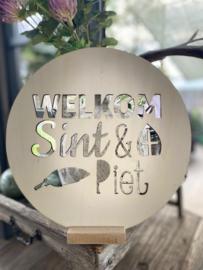 Houten cirkel Welkom Sint & Piet