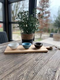 Beuken serveerplank inclusief 3 gekleurde porseleinen schaaltjes