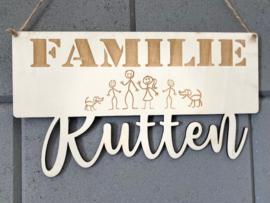 Familiebordje van populierenhout