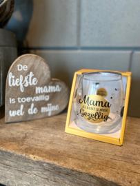 Cadeau pakket teksthart + water-wijnglas