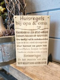 Tekstbord Huisregels bij opa  & oma