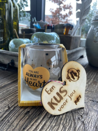 Water wijnglas you're always in my heart / Houten hartje een kus voor jou