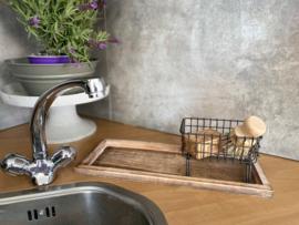 Cadeaupakket serveerplankje natural + draad zeepbakje + puimsteentuinzeep + pannenborstel