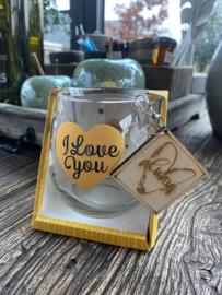 Water wijnglas I love you / houten sleutelhanger Always