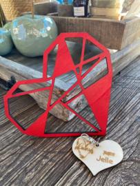 Cadeaupakket Valentijnsdag-vriendschap-liefde-verjaardag / Houten hart geometrisch rood 17 cm - Houten hartje sleutelhanger Always gepersonaliseerd met naam