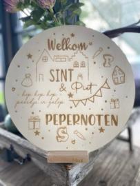 Houten cirkel Welkom - Sint & Piet - PEPERNOTEN