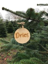 Houten kerstbal met naam (DRIES)