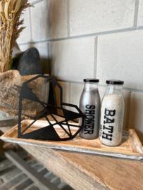 Decoratie-set houten dienblad (smal) / glazen fles met badzout en showergel / houten geometrisch hart
