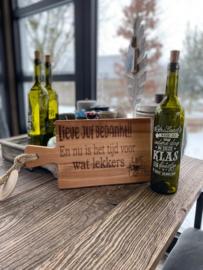 Serveerplankje Beukenhout Lieve juf bedankt en Winelight