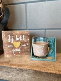 Cadeau pakket tekstblok + Theeglas