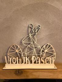 Paasdecoratie 2 x paasei-1x paashaas + tekst Vrolijk Pasen