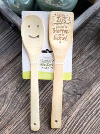 Vrolijke bamboe keukenset / Spatelset met de tekst Zus