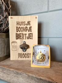 Tekstbord huisje boompje biertje + bieropener + glas 50 jaar