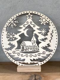 Houten cirkel Kerstboom met houder