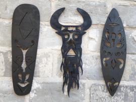Muurdecoratie maskers/indianen