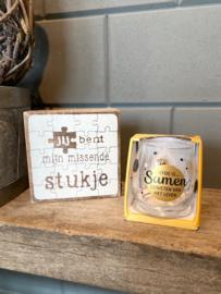 Cadeau pakket Tekstblok + Water-wijnglas