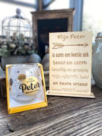 Cadeaupakket Mijn Peter + waterwijnglas goud