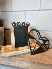 Decoratie-set houten schaal / fotolijstje LOVE / Houten geometrisch hart