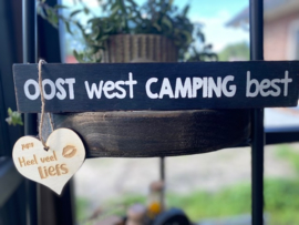 tekstblok 5x30cm oost west camping best black wash