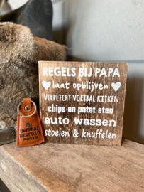 Cadeaupakket papa - vader / Tekstblok 15 cm Regels bij papa + sleutelhanger The original best dad