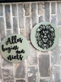Muurcirkel combi leeuw en tekst