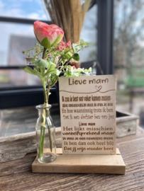 Teksbordje lieve mam in houten standaard + kunstbloemen Roze in vaasje