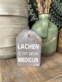Houten hanger Lachen Grijs