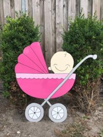 Kinderwagen met baby (roze)