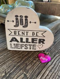 Cadeaupakket Valentijnsdag-vriendschap-liefde-verjaardag / Teksthart white Jij bent de allerliefste 15 cm  - Metalen sleutelhanger Hartje roze XXX
