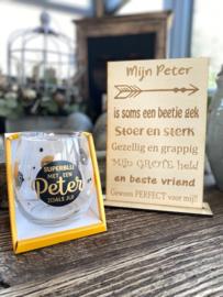 Cadeaupakket Mijn Peter + waterwijnglas zwart