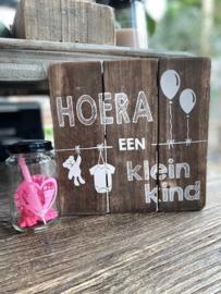 Tekstbordje Hoera een kleinkind + potje roze