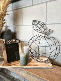 Decoratie-set houten dienblad (smal) /  fotolijstje LOVE / kaarsje / houten geometrische appel
