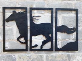 Muurdecoratie drieluik paard