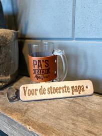 Bierbul Pa's bier Afblijven + flessenopener Voor de stoerste papa