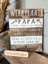 Cadeaupakket papa - vader / Tekstbord 40x30 cm Werkplaats papa + flessenopener Voor de stoerste papa