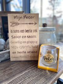 Cadeaupakket Mijn Peter (eikenhout) + waterwijnglas goud