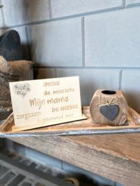 Cadeaupakket Mijn mama (speciaal) / op houten dienblad small / houten waxinehouder
