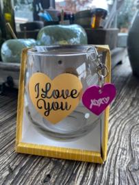 Water wijnglas I love you / Sleutelhanger hartje XX